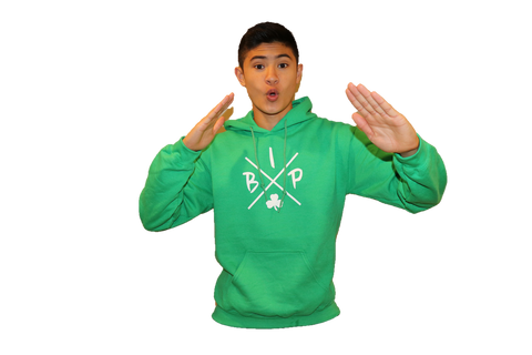 "Cotton Hoodie KELLY GREEN featuring the NEW ""X"" Logo YOUTH"