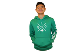 "PREMIUM DRY FIT Hoodie  KELLY GREEN Sport-TEK featuring the NEW ""X"" Logo ADULT"