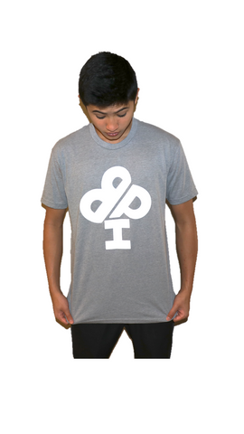 Adult Heather GRAY T-Shirt - short sleeve - IBP Logo (FULL FRONT)