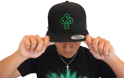 Electric Green Classic IBP logo in  on Black SnapBack hat