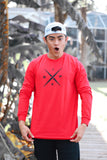 """X"" Logo 2.0  LONG SLEEVE  White/ Blue/ Red"