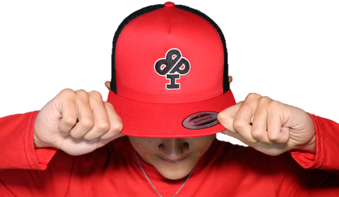 RED/ Black Trucker Hat featuring Black classic IBP logo