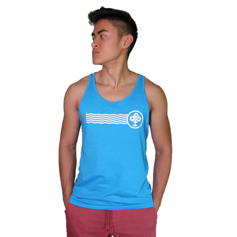 Limited Edition   NEON Blue ULTRA soft Bella Canvas Tank Top   featuring the Ireland Boys WAVE with the Classic IBP Logo  this tank is updated with a modern fit, featuring a round neck and designed with superior 100% Airlume combed and ring-spun cotton   Youth and Adult sizes  Product runs small and does NOT come in youth XL  recycle logo  100% No Sweatshops & Eco-Friendly