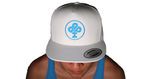 "IBP ""CLASSIC"" BRIGHT Teal Logo Trucker Cap                                                   Flat bill adjustable  All White cap with BRIGHT Teal IBP Classic Logo.  Designed to compliment the WAVE Logo Tank Top. This style has an urban attitude thanks to the iconic flat bill and old-school snap back closure. Fabric: 100% cotton. Structure: Structured. Profile: High. Closure: 7-position adjustable snap.    One size fits most."