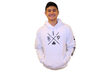 "Cotton Hoodie WHITE featuring the NEW ""X"" Logo YOUTH"