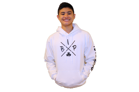 "Cotton Hoodie WHITE featuring the NEW  ""X"" Logo ADULT"