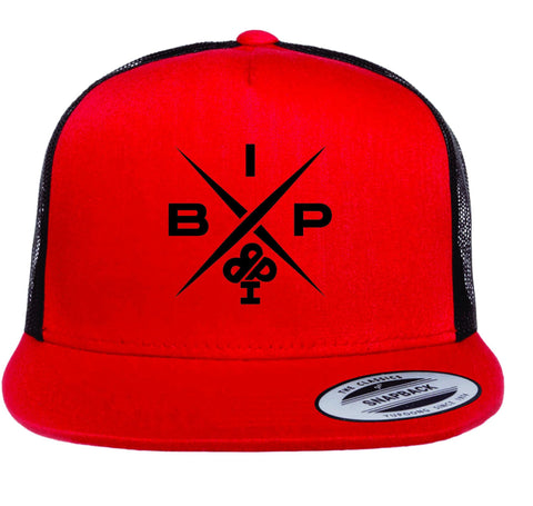 """X"" 2.0 Logo EMBROIDERED Red and Black Trucker Hat"