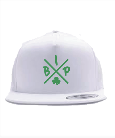 "Flat bill adjustable  All White cap with Green IBP ""X"" Logo.This style has an urban attitude thanks to the iconic flat bill and old-school snap back closure. Fabric: 100% cotton. Structure: Structured. Profile: High. Closure: 7-position adjustable snap."
