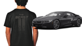 The BEAST - Black T-Shirt w-Asphalt Grey print- Youth and Adult sizes