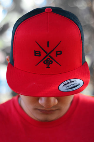 """X"" Logo 2.0  EMBROIDERED Red and Black Trucker Hat"