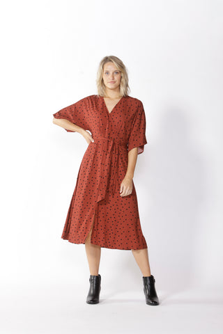 FATE+BECKER MATHILDE TIE WAIST DRESS COFFEE SPOT