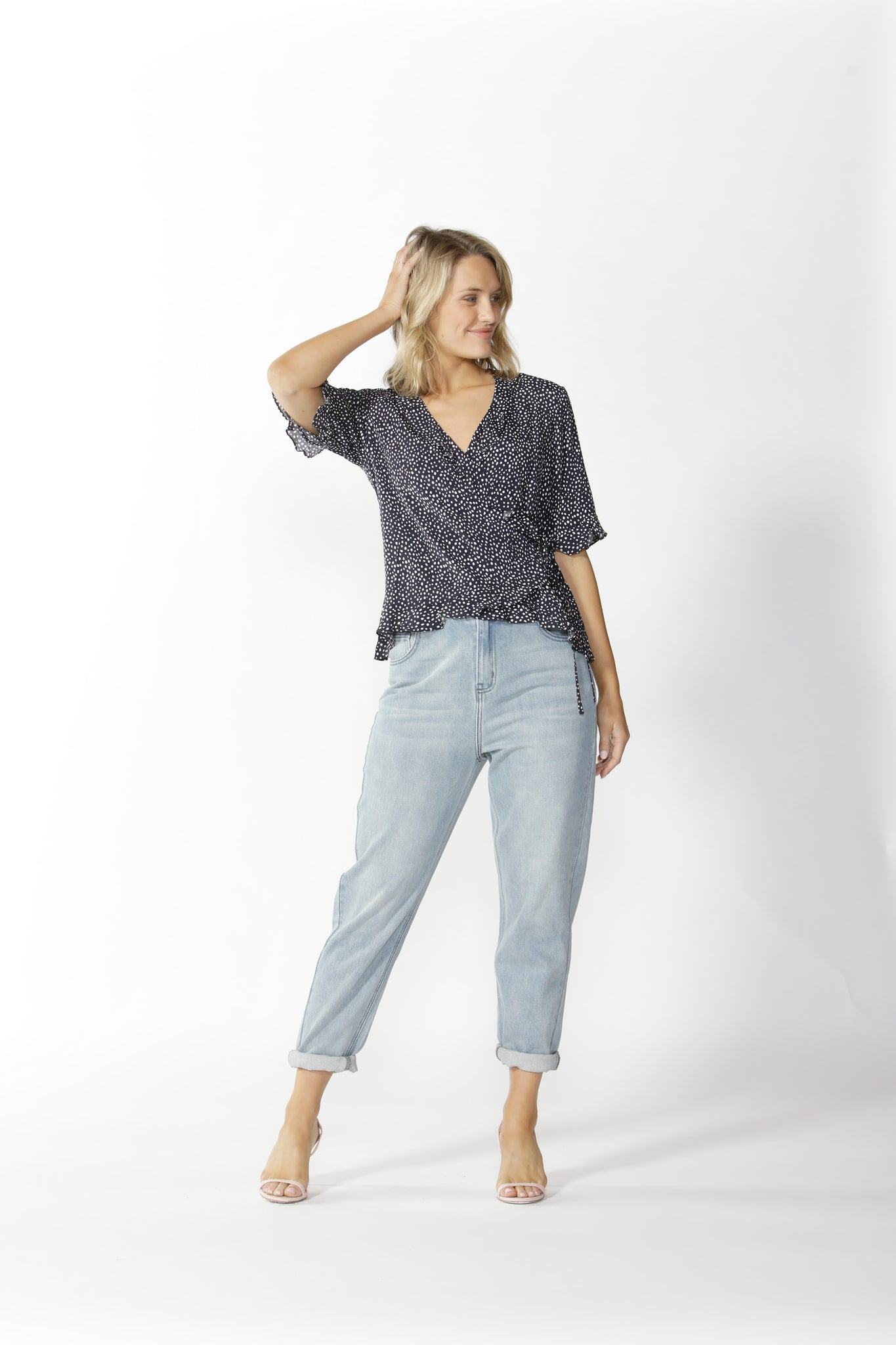 LISBON WRAP TOP NAVY POLKA DOT