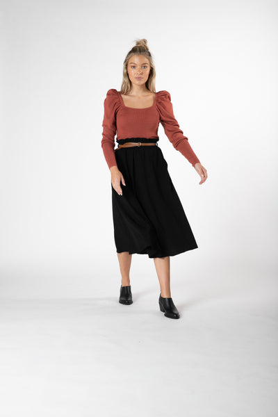 SASS MILLAY PAPERBAG SKIRT BLACK