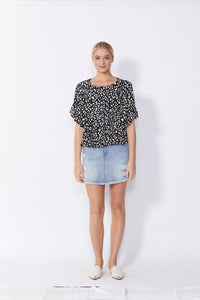 SASS REMI TOP BLACK ANIMAL PRINT