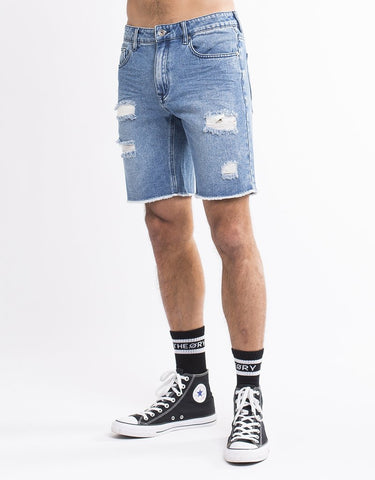 SILENT THEORY RAMBLE RIPPED SHORT MID BLUE