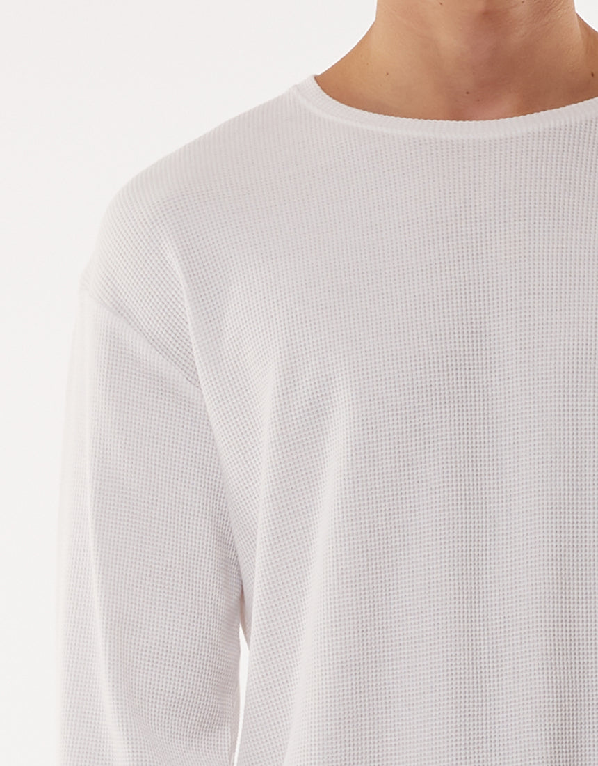 SILENT THEORY ACID WAFFLE L/S TEE WHITE