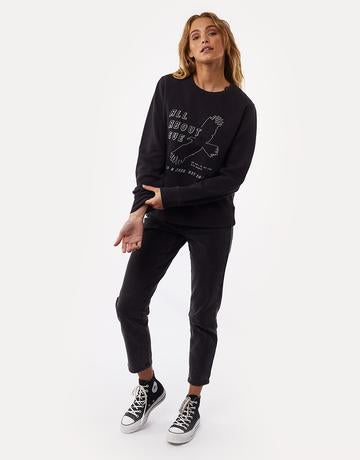 ALL ABOUT EVE RISE AGAIN CREWV WASHED BLACK