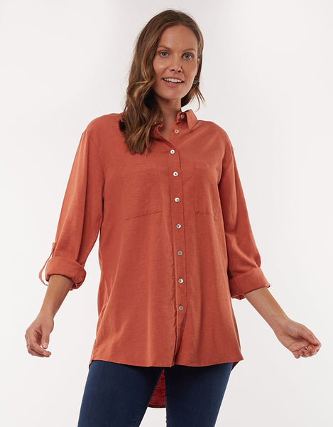 ELM SUMMER BREEZE SHIRT DUSTY CEDAR