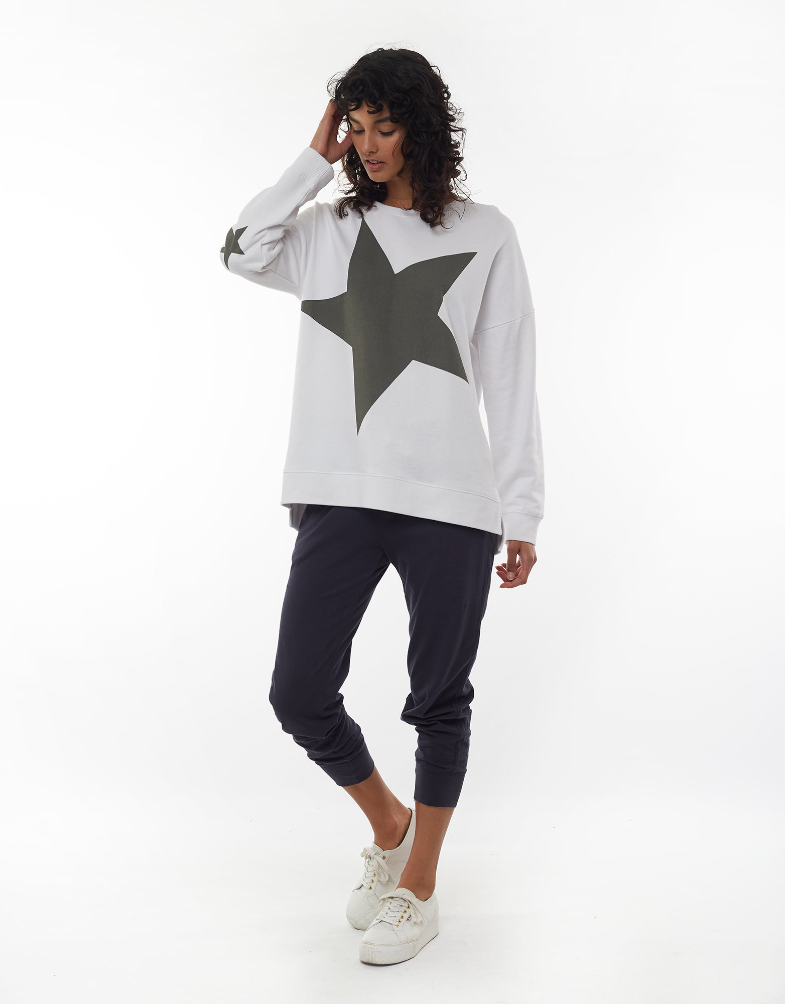 ELM SUPER FLEECE CREW WHITE