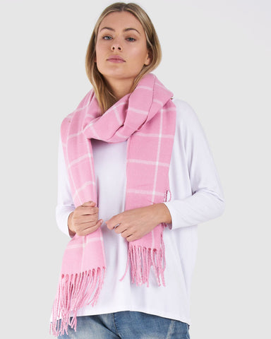 BETTY BASICS ARIEL SCARF PINK CHECK