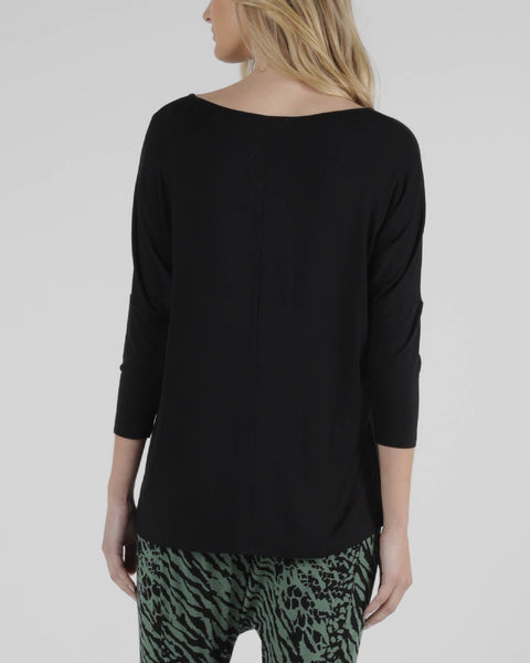 BETTY BASICS ATLANTA 3/4 SLEEVE TOP BLACK