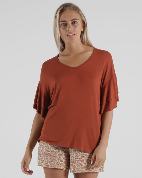 BETTY BASICS RIPON TOP TERRACOTTA