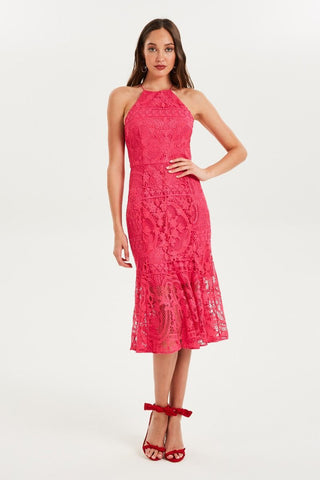GLIMMER HIGH NECK LACE DRESS