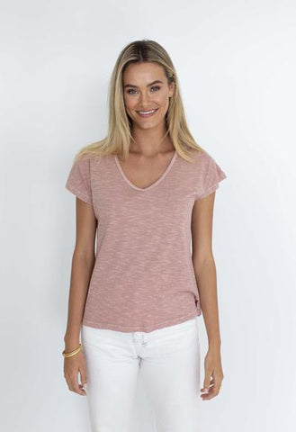 HUMIDITY MUST HAVE V NECK ROSE