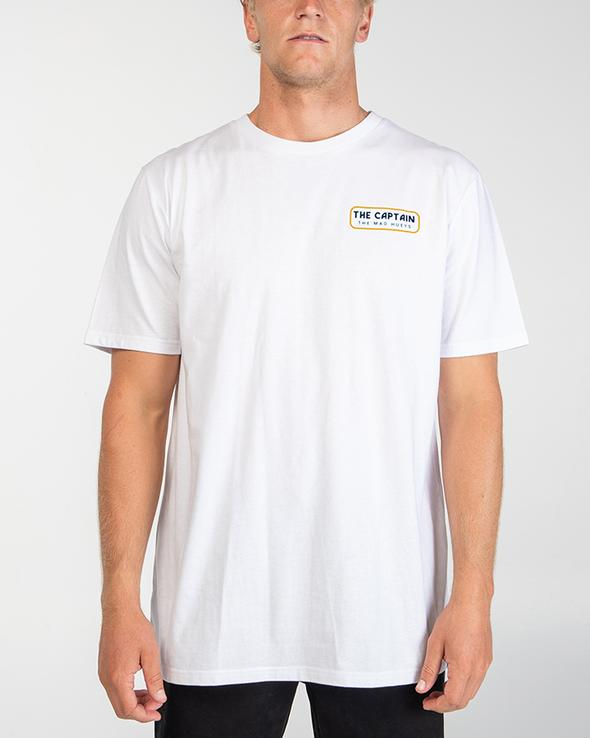 MAD HUEYS RETRO CAPTAIN SHORT SLEEVE TEE WHITE