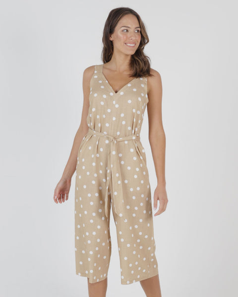 BETTY BASICS JOEY JUMPSUIT ECRU SPOT