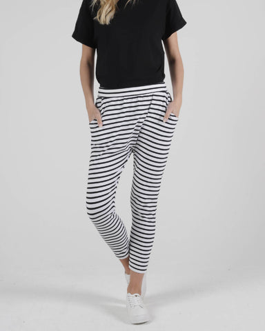 BETTY BASICS LOLA PANT WHITE/BLACK STRIPE