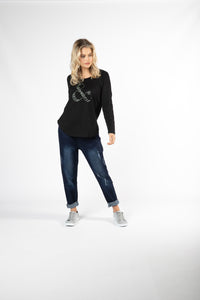 MEGAN LONG SLEEVE TOP NOIR