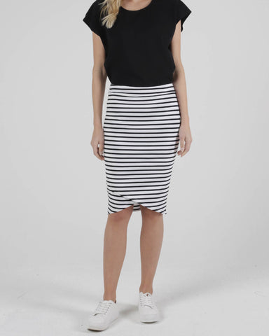 BETTY BASICS SIRI SKIRT WHITE/BLACK STRIPE