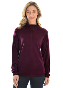 THOMAS COOK MERINO BLEND 1/4 ZIP SKIVVY BURGUNDY