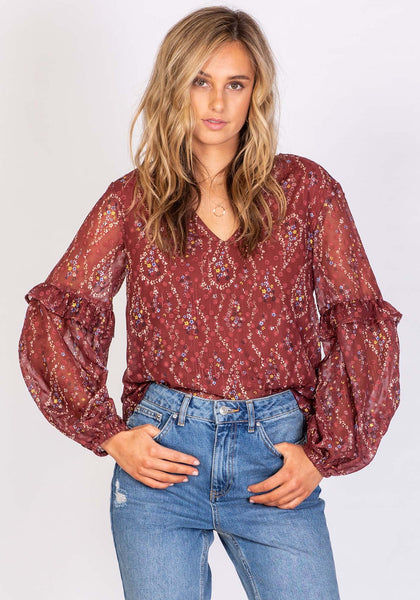 THREE OF SOMETHING MELROSE STAR BLOUSE FLORAL