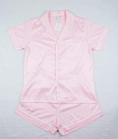 CORFU SOFT STRETCH LUXE SATIN PJS SHORT PINK/PINK