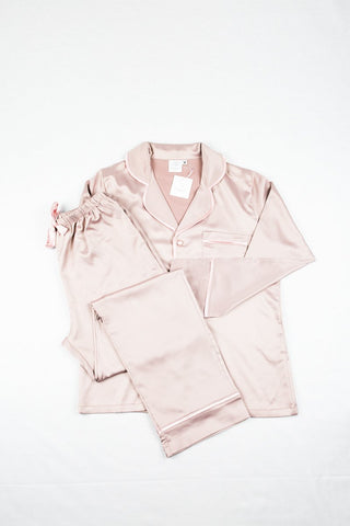 CORFU SOFT STRETCH LUXE SATIN PJS LONG BRONZE/PINK