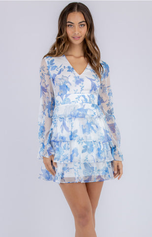 STYLE STATE SOFT FLORAL V NECKLINE DRESS WITH LAYERED HEM