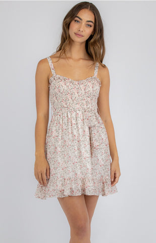 STYLE STATE FLORAL DRESS WITH SHIRRED BODICE AND FRILL HEM BLUSH