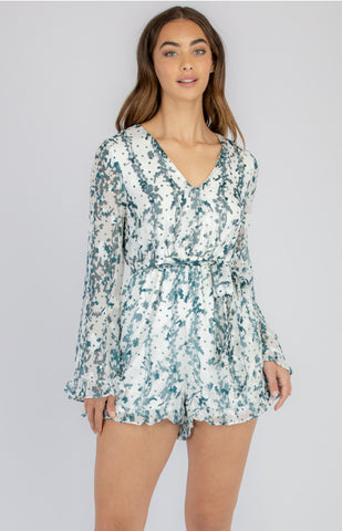 STYLE STATE TEXTURED PRINT PLAYSUIT WITH WAIST TIE EMERALD