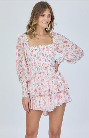 STYLE STATE PRINTED CHIFFON SHIRRED BODICE PLAYSUIT WHITE