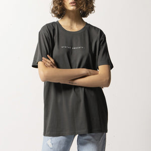 STATUS ANXIETY THINK IT OVER WOMENS TEE COAL