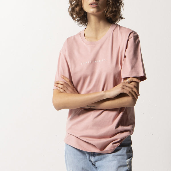 STATUS ANXIETY THINK IT OVER WOMENS TEE PALE PINK