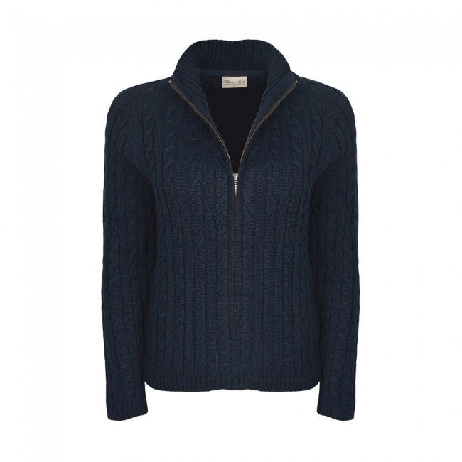 THOMAS COOK CABLE KNIT ZIP THRU NAVY