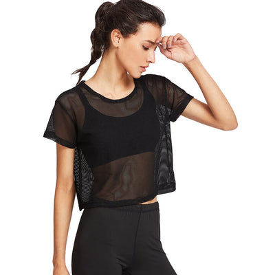 Black Mesh Cover Up Top
