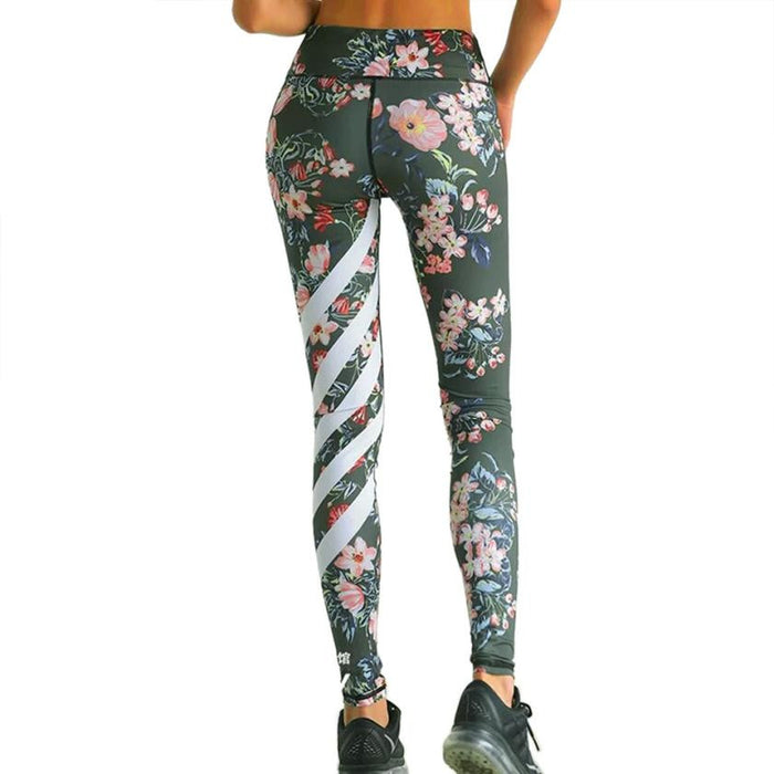 Floral Print With Stripe Leggings