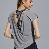 Open Back Short Sleeve T- Shirt
