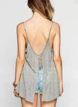 Backless Sleeveless Gray Tank Top