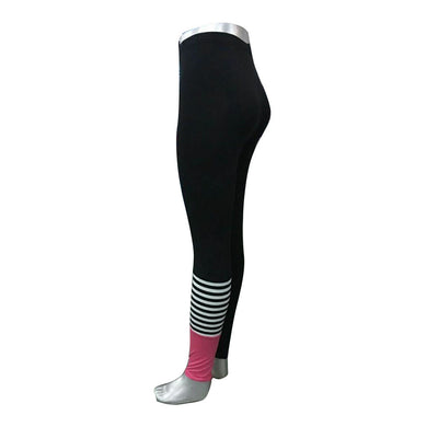 Stripe and Pink Accent Leggings