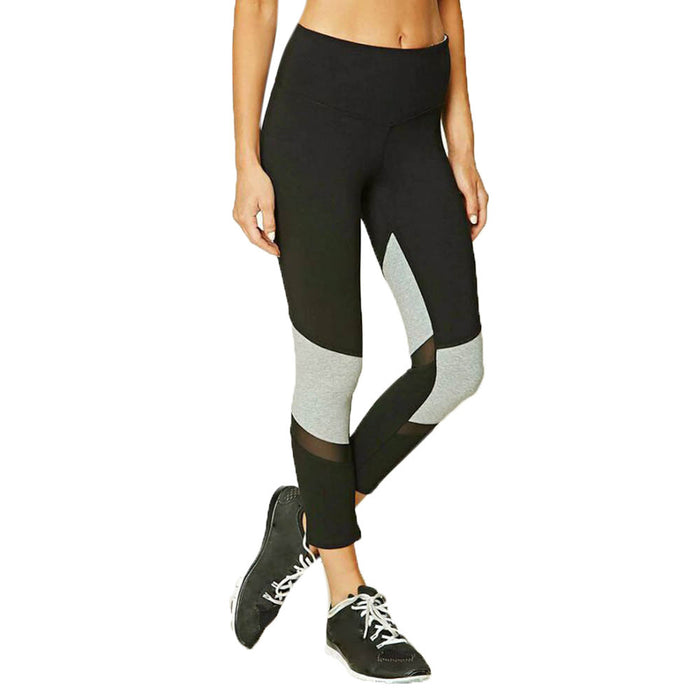 Color Block With Mesh Leggings